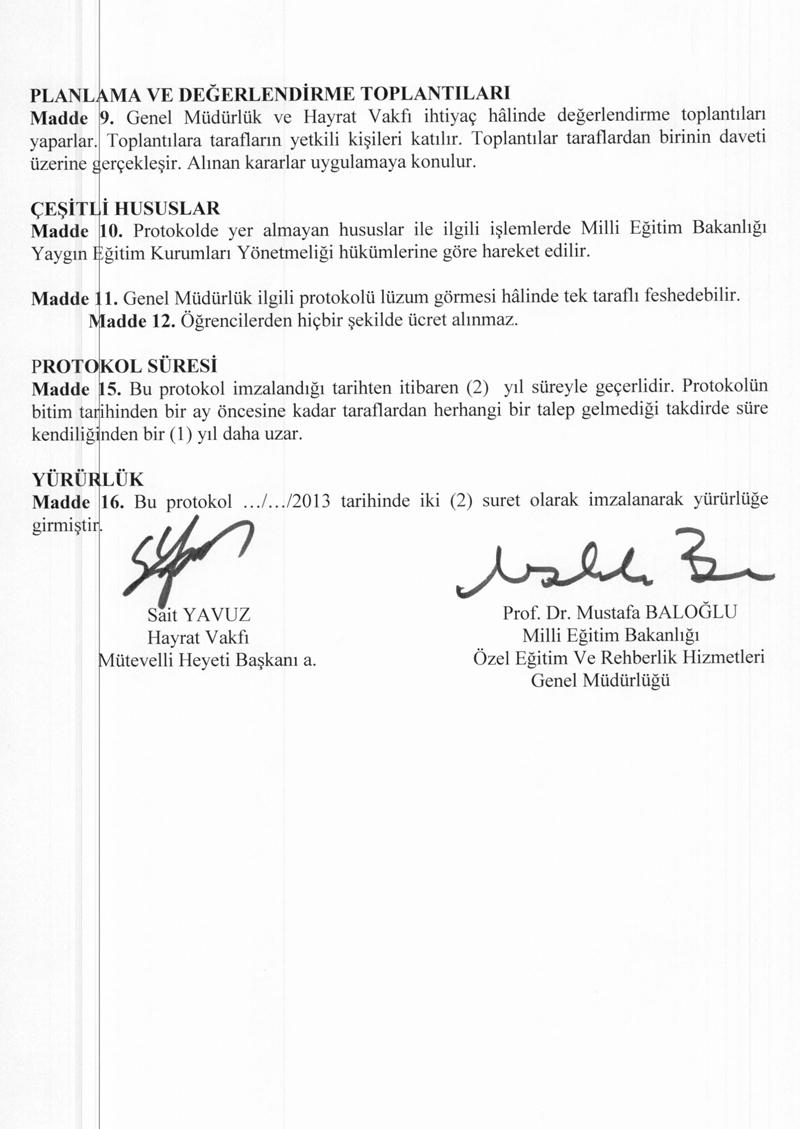 Özel Eğitim ve Rehberlik Hizmetleri Genel Müdürlüğü ile Hayrat Vakfı arasında imzalanan protokol