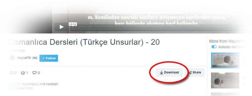 """İndirmek istediğiniz dosyaları vimeo sayfalarındaki """"Download""""a basarak indirebilirsiniz."""